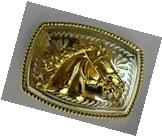 HORSE HEAD SILVER AND GOLD WESTERN COWBOY RODEO  BELT BUCKLE