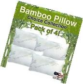 Pack of 4 Hotel Comfort Bamboo Memory Foam Pillows