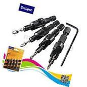 4pcs HSS Countersink Drill Bit Set Quick Change Hex Shank