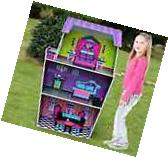 """Large 45"""" Inch Deluxe Wooden Dollhouse Fits Barbie Wood Doll"""