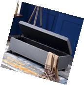"""48"""" inch Rectangular Storage Linen Ottoman Bench Tufted"""
