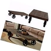 Industrial Coffee Table With Casters Rectangle Vintage