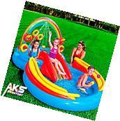 Inflatable Water Slide Kiddie Pool Sprayer Rings Swimming