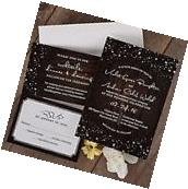 Set of 50 Wedding Invitations with RSVP & Reception Cards