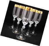 SET of 6 Italian Crystal Champagne Glasses 24K Gold Rimmed