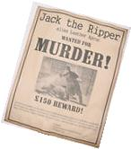 Jack the Ripper Wanted Poster. Great Halloween Decor Item