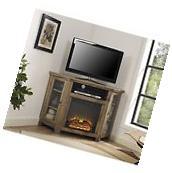 "Walker Edison Jackson 48"" Corner Fireplace TV Stand Barnwood"