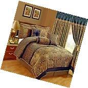 Jacquard Comforter 7 Pc Set Bedding Bed In Bag Floral Queen