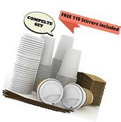 JUMBO Set of 110 - Paper Coffee Hot Cups, Travel Lids,