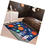 Kids Rug Educational Learning Space Carpet Galaxy Planets