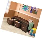 Kids Storage Bench Bins Ottoman Toy Chest Box Organizer