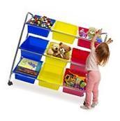 Kids Toys Storage Organizer Rolling Bins Plastic Cart with