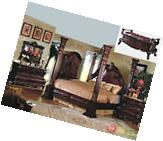 King Cherry Poster Luxury Canopy Bed w/ Leather Headboard
