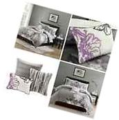 King Size Embroidered Floral Duvet Cover Set Cotton Cream