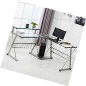 L-Shape Corner Computer Desk PC Glass Laptop Table