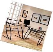 L Shaped Computer Desk Corner Hutch Office Furniture Wood