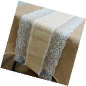 "LACE BURLAP TABLE RUNNER 14x108"" Rustic Natural Country"