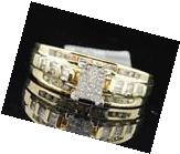 Ladies 10K Yellow Gold Princess & Round Cut Diamond