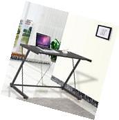 PC Laptop Glass Table Black Computer Desk Workstation Office
