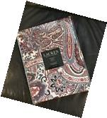 """Ralph Lauren Laveen Tablecloth 70"""" Round Cotton Paisley Red"""
