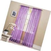 "2PC LAVENDER LILAC SHEER WINDOW CURTAIN PANELS DRAPES 54"" X"