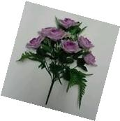 "15"" Lavender Rose Bush Silk Flower Leaf Home Office Wedding"