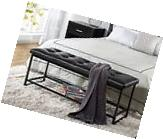 Leather Tufted Bench Bed Bedroom Storage Shelf Hallway