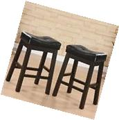 Leather Tufted Saddle Counter Height Bar Stools Backless