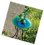 CTM LH40481 Glass & Metal Bird Bath with Hummingbird