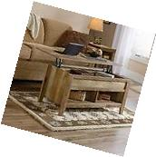 Lift Top Coffee Table Oak With Storage Rustic Weathered Wood