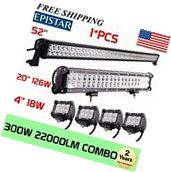 "52Inch LED Light Bar Combo + 20in +4"" CREE PODS OFFROAD SUV"