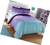 Light Dark Purple Blue Green Ombre 7 Piece Comforter Bedding
