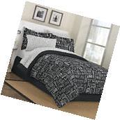 NEW Live Love Laugh Black Bed in a Bag Comforter Bedskirt