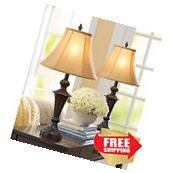 Premium Living Room Set 2 Table Lamps Metal Base Espresso