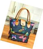 Lunch Bag for Women Insulated Tote Cooler Dual Compartment