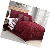 Luxurious Reversible 7-Piece Comforter Set King Size Bed