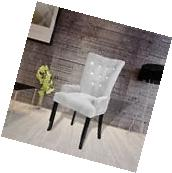 Luxury High Back Dining Chair Tufted Velvet Purple Accent