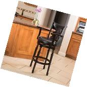 Montreal Farmhouse Black Bonded Leather Swivel Barstool with