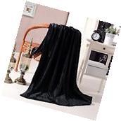 """Luxury Flannel Velvet Plush Throw Blanket - 50"""" x 60"""" Black"""