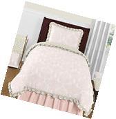 Luxury Pink And White Damask Gold Polka Dot Twin Bedding Set