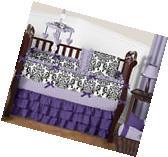 Luxury Purple Lavender Black White Damask Polka Dot Baby