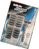 GILLETTE MACH 3 TURBO RAZOR BLADES 20 CARTRIDGES 1 RAZOR