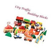 iPuzzle Magnetic Wooden City Traffic Building Blocks Set