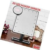 10x Magnifying 20 LED Lighted Makeup Mirror Touch Portable Cosmetic Vanity Table