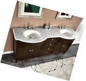 "72"" Marble Top Double Sink Bathroom Vanity Cabinet  717WM"