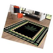 Marijuana Floral border Area Rug Black & Green Contemporary