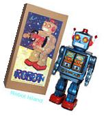 ME100 Robot Tin Toy Battery Operated Blue with Gold Doors