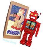 ME100 Robot Tin Toy Battery Operated Red with Gold Doors