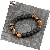 Men's Hip Hop Tiger's Eye Stone Gems Beads Elastic Stretch