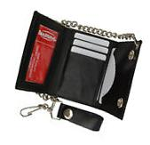 Men's Genuine Leather Black Trifold Wallet with Chain  Biker